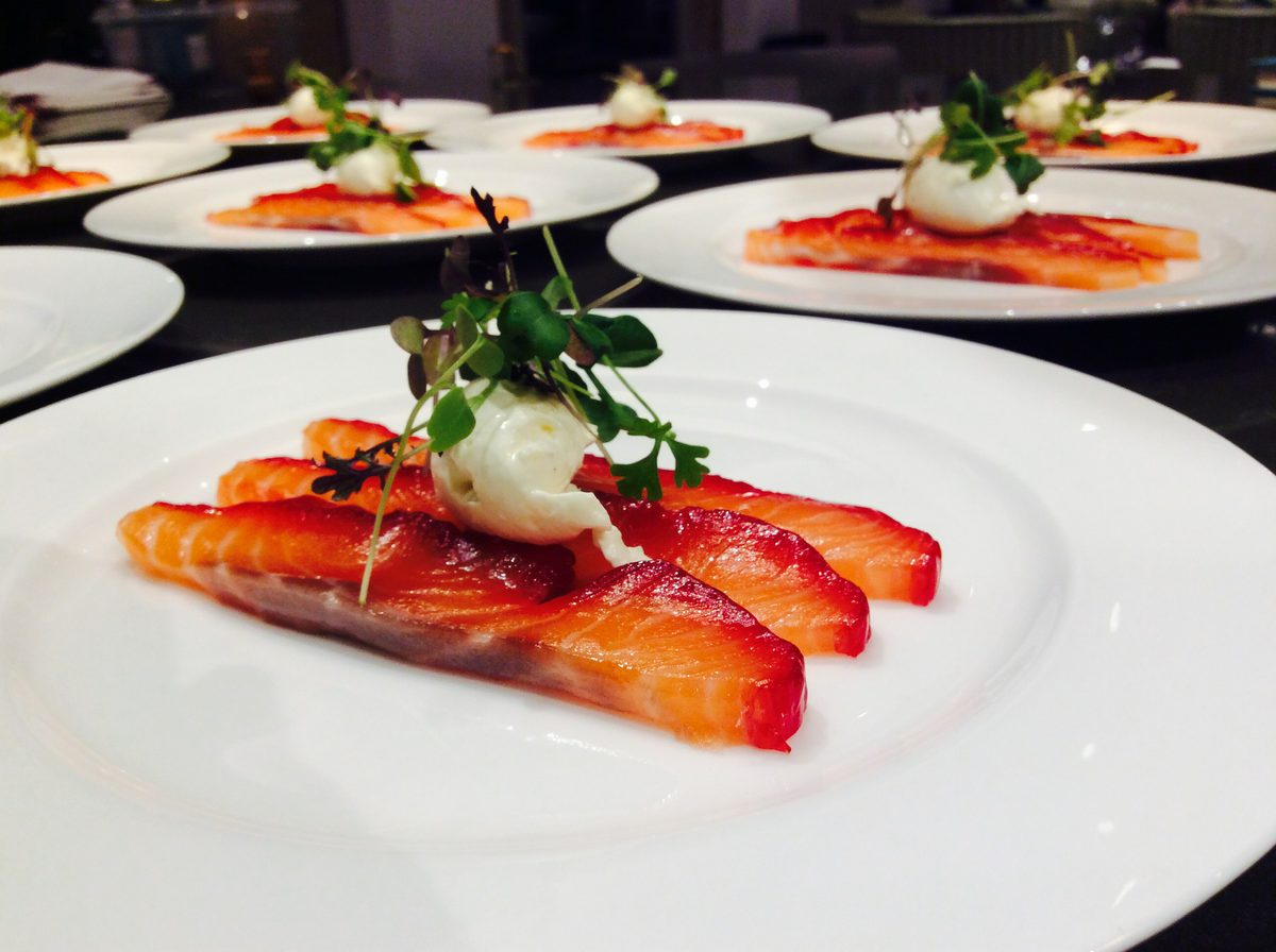 Gin and Beetroot cured salmon with horseradish cream